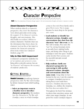 Character Perspective: Leveled Graphic Organizers - Printable Worksheet