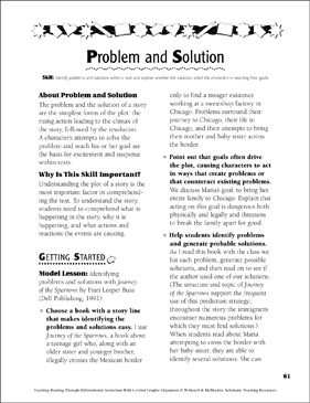 Problem and Solution: Leveled Graphic Organizers for Differentiated Reading Instruction (Grades 4-8) - Printable Worksheet