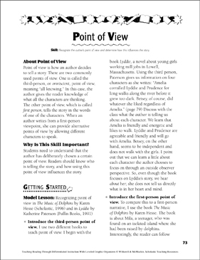 Point of View: Leveled Graphic Organizers for Differentiated Reading Instruction (Grades 4-8) - Printable Worksheet
