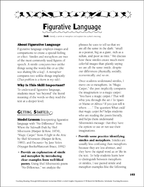 Figurative Language: Leveled Graphic Organizers for Differentiated Reading Instruction (Grades 4-8) - Printable Worksheet
