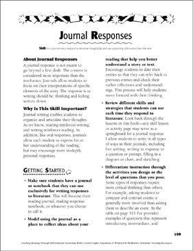 Journal Responses: Leveled Graphic Organizers - Printable Worksheet