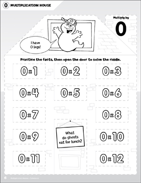 Multiply by 0: Open-n-Peek Multiplication House - Printable Worksheet