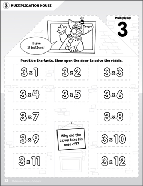 Multiply by 3: Open-n-Peek Multiplication House - Printable Worksheet