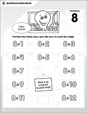Multiply by 8: Open-n-Peek Multiplication House - Printable Worksheet