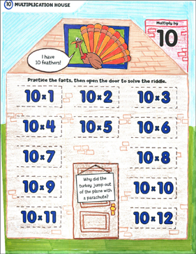 Multiply by 10: Open-n-Peek Multiplication House - Printable Worksheet