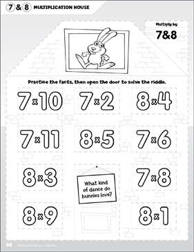 Multiply by 7 & 8: Open-n-Peek Multiplication House - Printable Worksheet