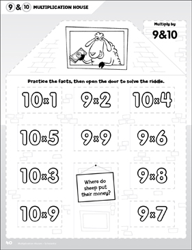 Multiply by 9 & 10: Open-n-Peek Multiplication House - Printable Worksheet