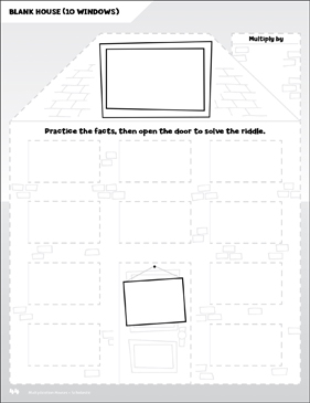 Blank Templates: Open-n-Peek Multiplication House - Printable Worksheet