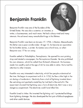 Benjamin Franklin: Text & Organizer - Printable Worksheet