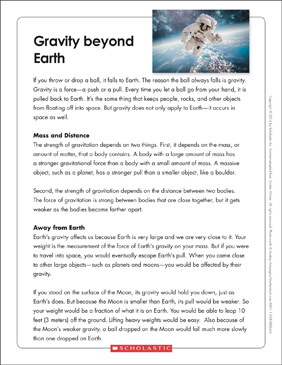 Gravity Beyond Earth: Text & Organizer - Printable Worksheet