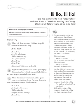 Hi Ho, Hi Ho! Circle Time Activity - Printable Worksheet