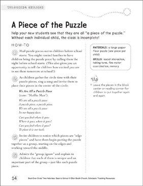 A Piece of the Puzzle: Circle Time Activity - Printable Worksheet