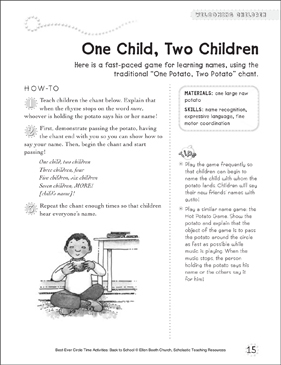 One Child, Two Children: Circle Time Activity - Printable Worksheet