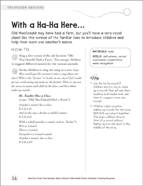 With a Ha-Ha Here: Circle Time Activity - Printable Worksheet