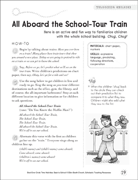 All Aboard the School-Tour Train: Circle Time Activity - Printable Worksheet