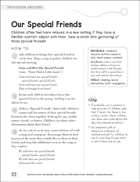 Our Special Friends: Circle Time Activity - Printable Worksheet