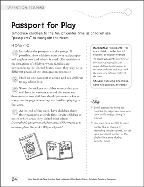 Passport for Play: Circle Time Activity - Printable Worksheet