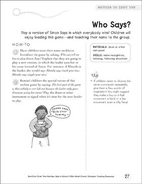 Who Says? Circle Time Activity - Printable Worksheet