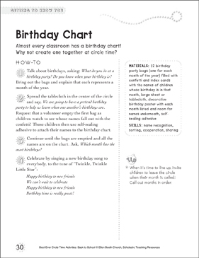 Birthday Chart: Circle Time Activity - Printable Worksheet