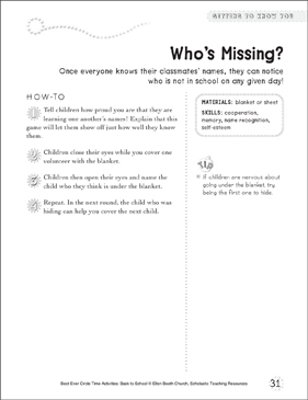 Who's Missing? Circle Time Activity - Printable Worksheet
