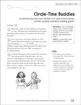 circle time buddies circle time activity printable. Black Bedroom Furniture Sets. Home Design Ideas