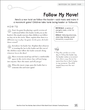 Follow My Move!: Circle Time Activity - Printable Worksheet