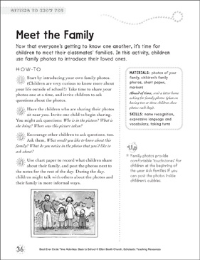 Meet the Family: Circle Time Activity - Printable Worksheet