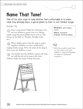 Name That Tune!: Circle Time Activity - Printable Worksheet