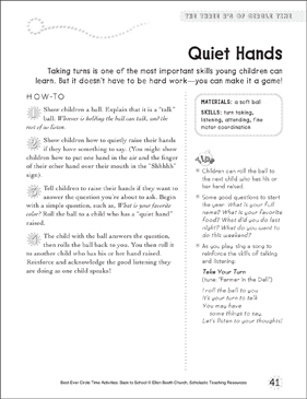 Quiet Hands: Circle Time Activity - Printable Worksheet