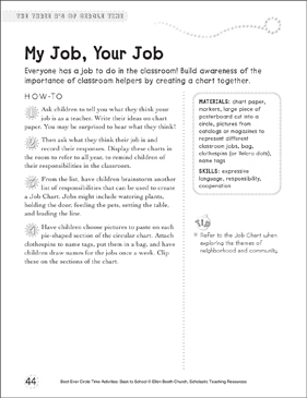 My Job, Your Job: Circle Time Activity - Printable Worksheet
