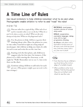 A Time Line of Rules: Circle Time Activity - Printable Worksheet