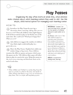 Play Passes: Circle Time Activity - Printable Worksheet