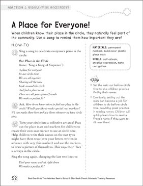 A Place for Everyone: Circle Time Activity - Printable Worksheet