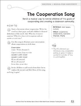 The Cooperation Song: Circle Time Activity - Printable Worksheet