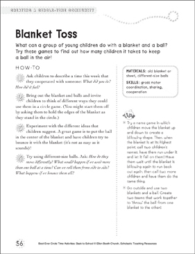 Blanket Toss: Circle Time Activity - Printable Worksheet
