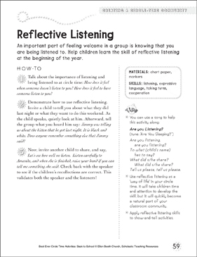 reflective listening circle time activity printable lesson plans and ideas. Black Bedroom Furniture Sets. Home Design Ideas