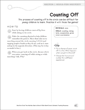 Counting Off: Circle Time Activity - Printable Worksheet