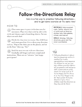 Follow-the-Directions Relay: Circle Time Activity - Printable Worksheet