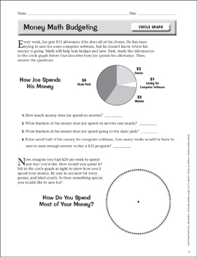 Money Math Budgeting (Circle Graph) - Printable Worksheet