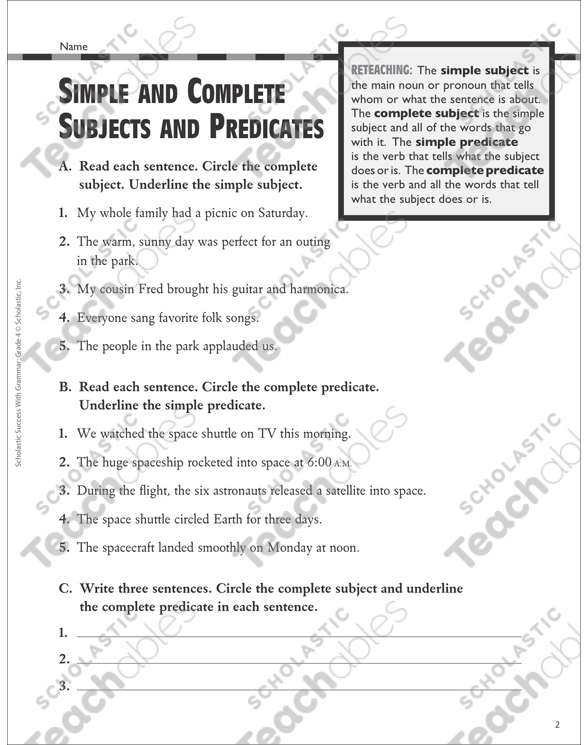 Simple And Complete Subjects And Predicates: Grammar Practice (Grades 3–4)  Printable Test Prep And Tests, Skills Sheets