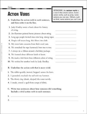 Action Verbs: Grammar Practice (Grade 4) | Printable Test Prep