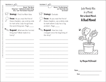 Judy Moody Was in a Mood. Not a Good Mood. A Bad Mood. (Level L): Reading Response Trifold - Printable Worksheet