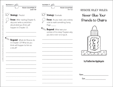 Roscoe Riley Rules: Never Glue Your Friends to Chairs (Level L): Reading Response Trifold - Printable Worksheet