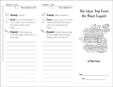 The Class Trip From the Black Lagoon (Level M): Reading Response Trifold - Printable Worksheet