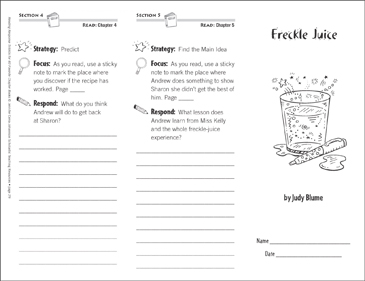 Freckle Juice (Level M): Reading Response Trifold - Printable Worksheet