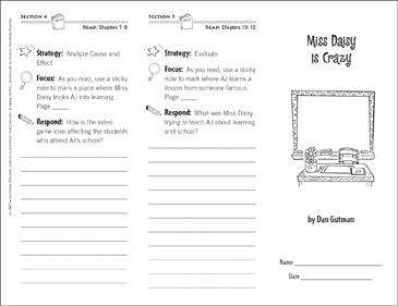 Miss Daisy Is Crazy (Level M): Reading Response Trifold - Printable Worksheet