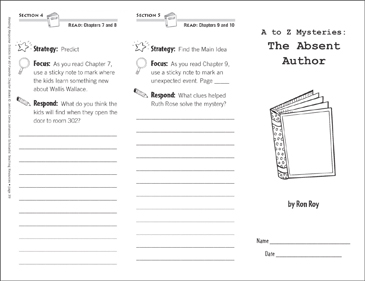 A to Z Mysteries: The Absent Author (Level N): Reading Response Trifold - Printable Worksheet