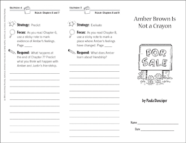 Amber Brown Is Not a Crayon (Level N): Reading Response Trifold - Printable Worksheet