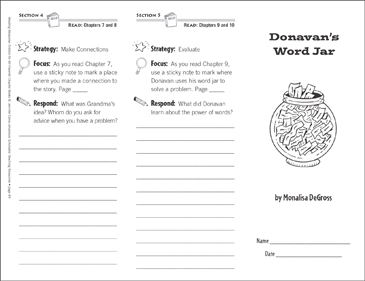Donovan's Word Jar (Level N): Reading Response Trifold - Printable Worksheet