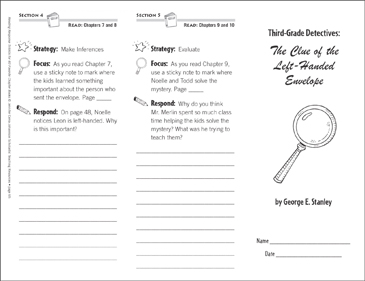 Third-Grade Detectives: The Clue of the Left-Handed Envelope (Level N): Reading Response Trifold - Printable Worksheet